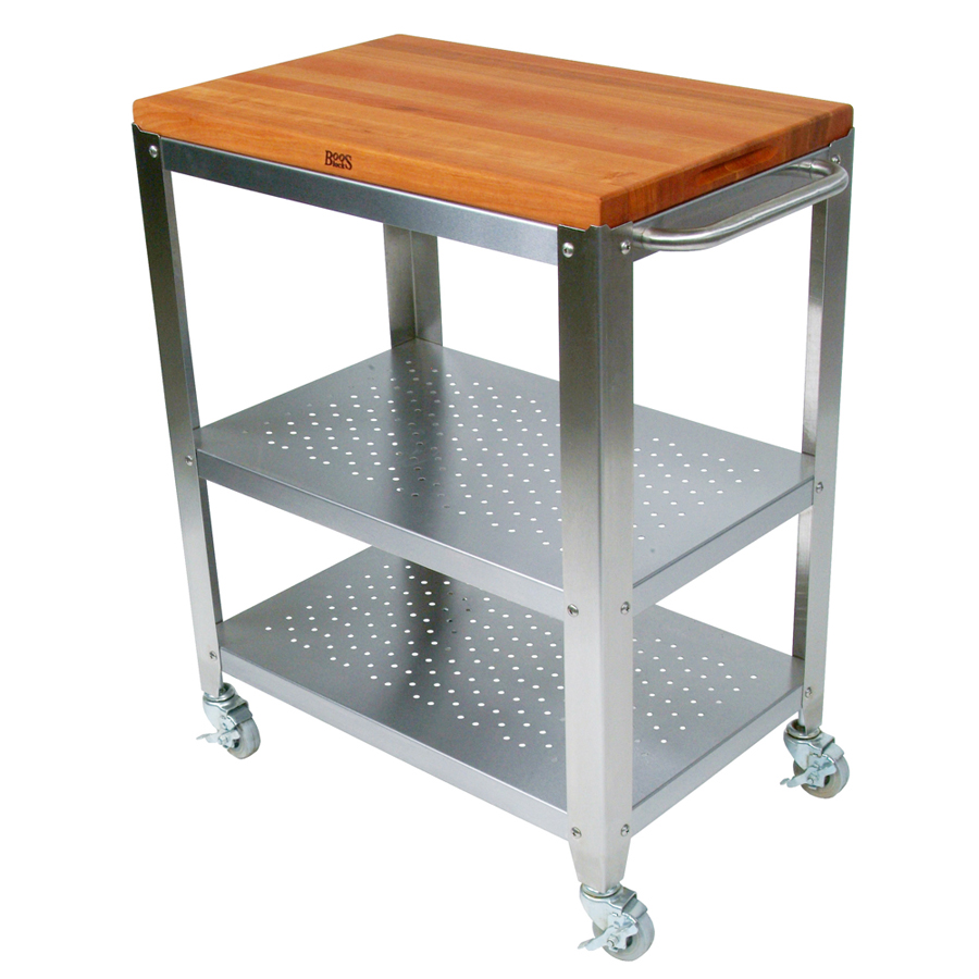 cherry butcher block cart with steel shelves