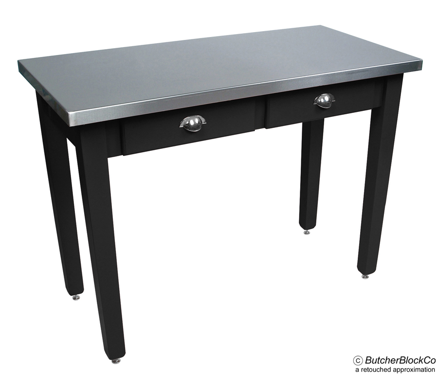 Boos Steel-Top table with black legs