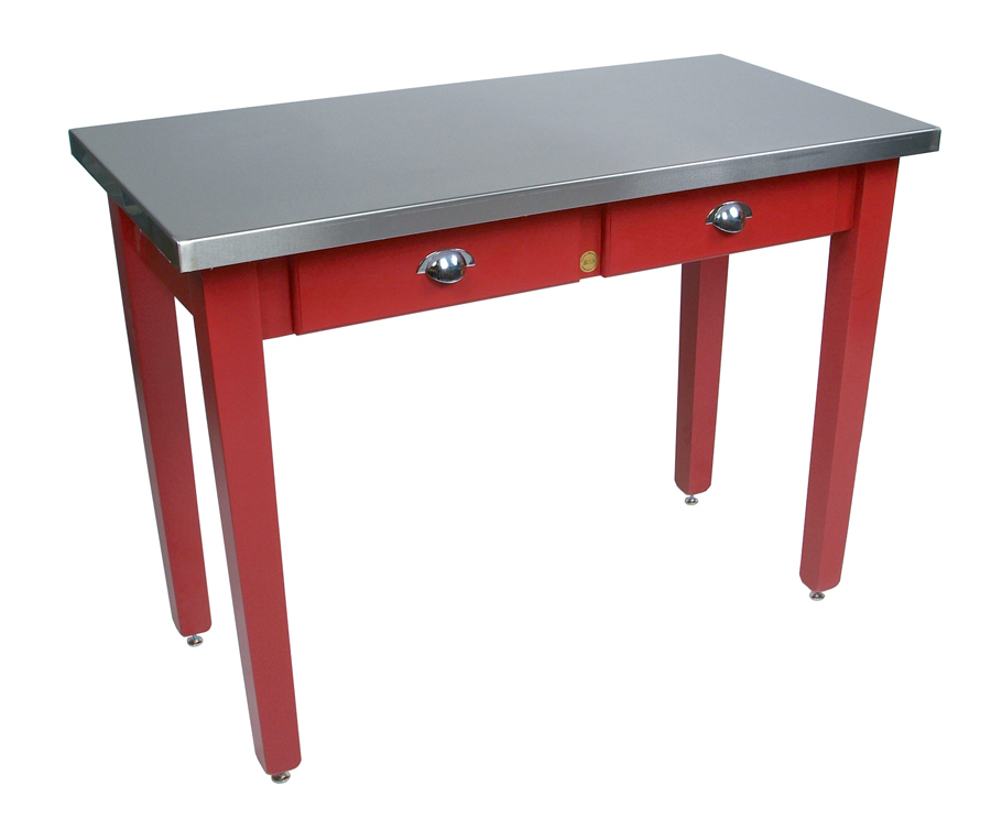 stainless steel & wood kitchen table w red base