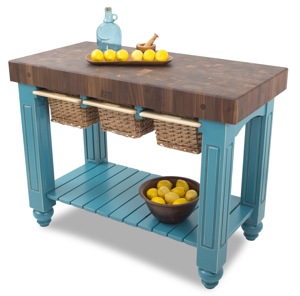 Kitchen Island Table | Boos Butcher Block IslandsBoos Walnut Gathering Block III - 48x24, w/ 4