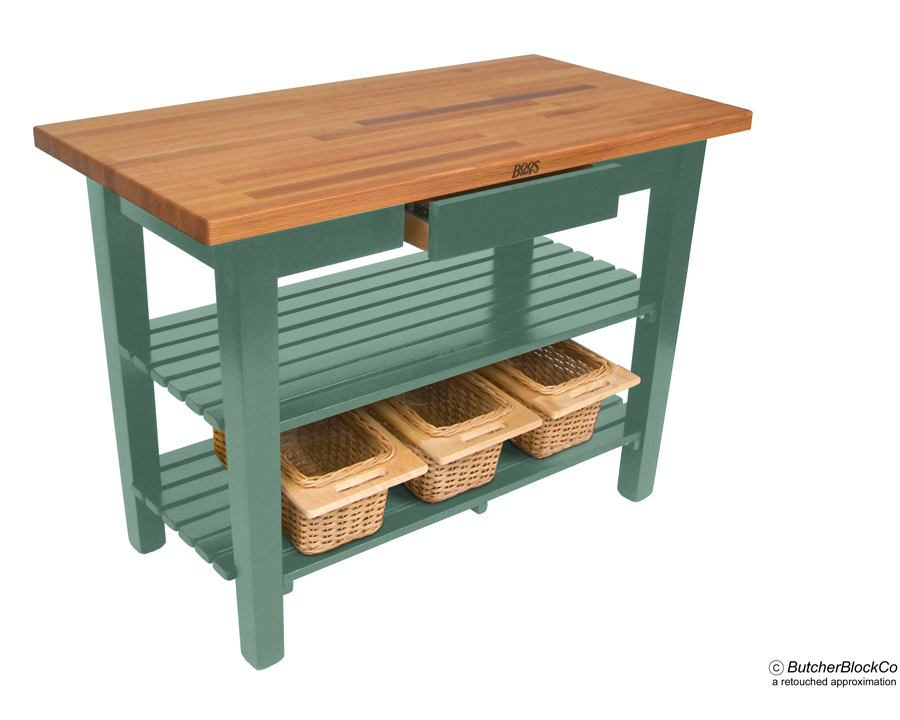 blended oak butcher block tables w 2 shelves