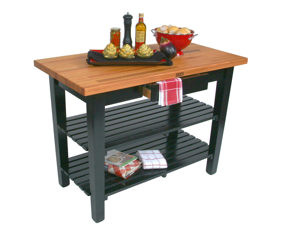 Boos oak country work table on black base