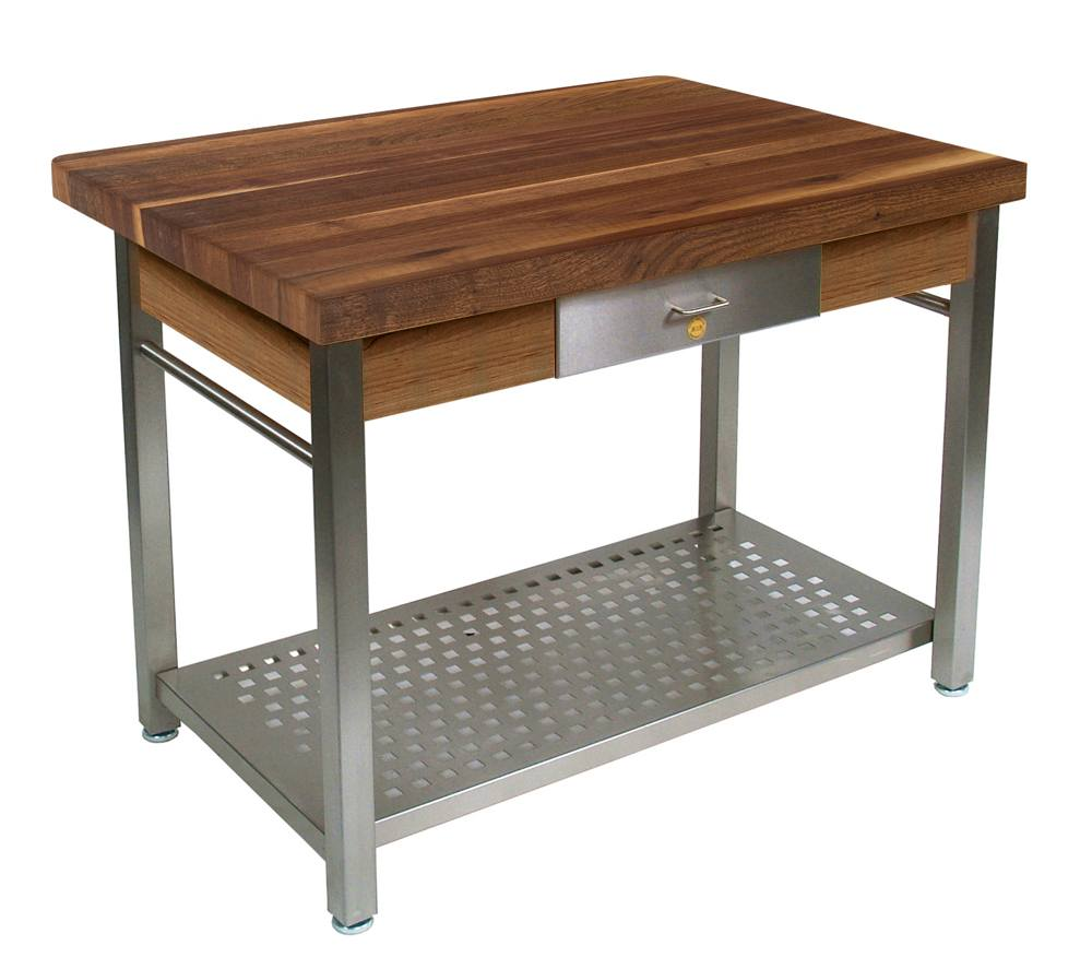 John Boos Cucina Grande Walnut & Steel Work Table