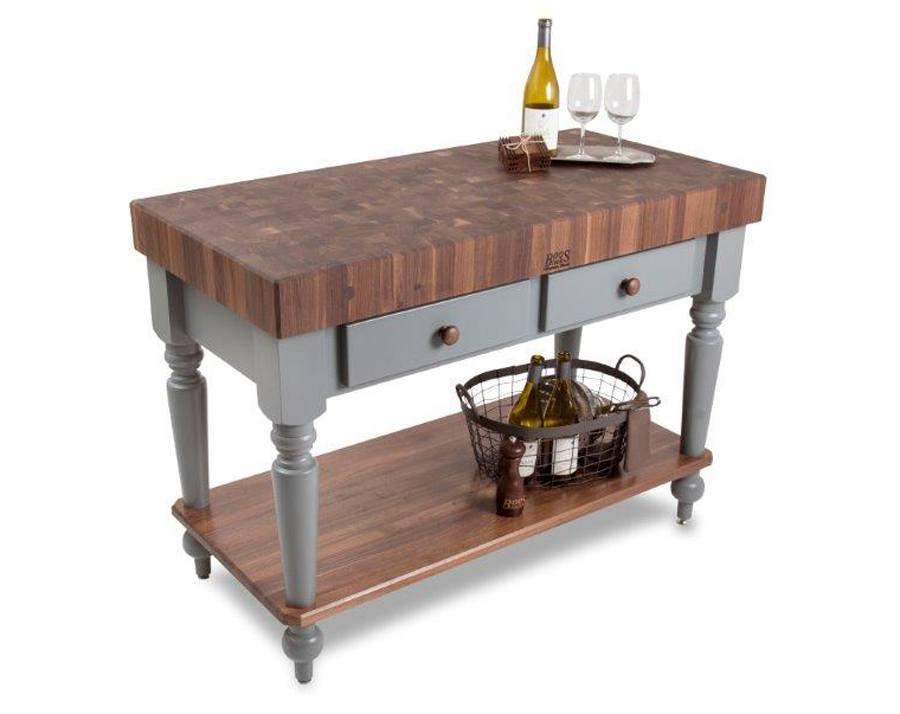 john boos rustica black walnut butcher block table