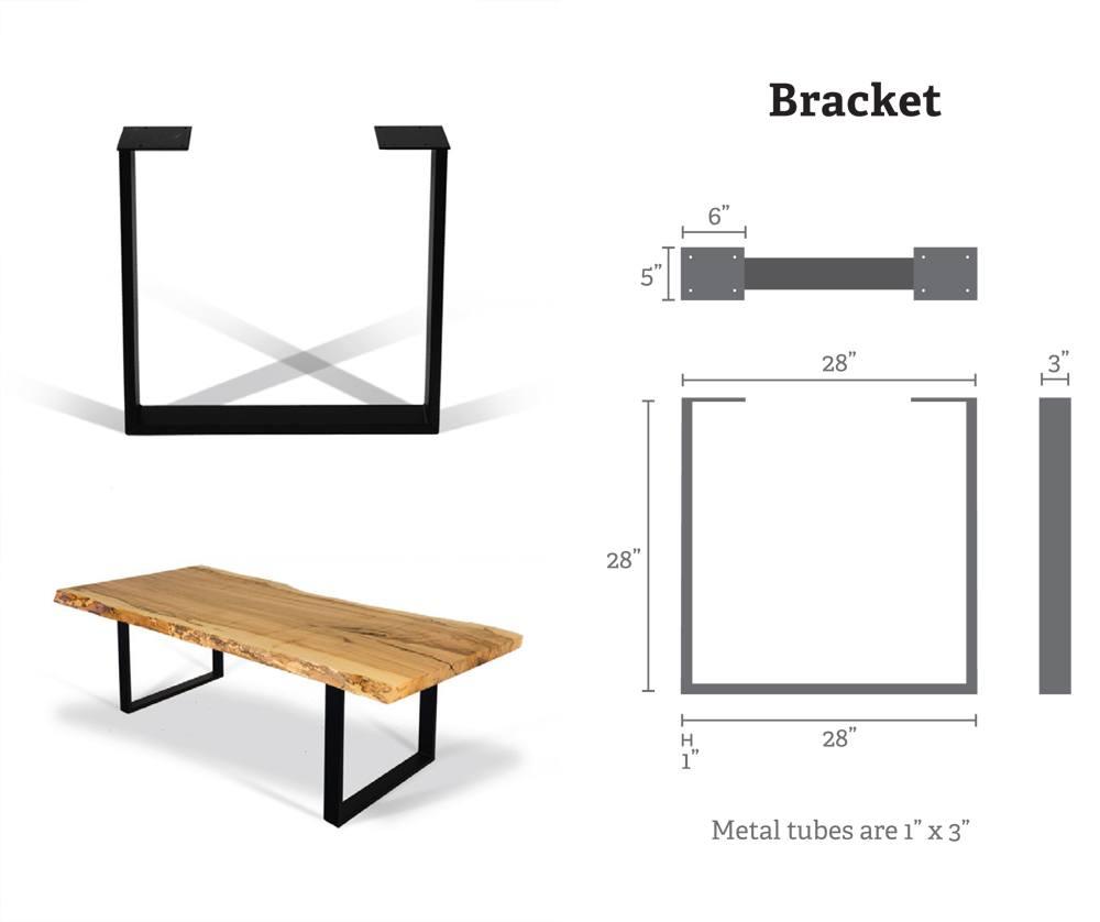 Bracket Metal Table Bases (Pair) for Wood Slab, Butcher Block, Plank Tops