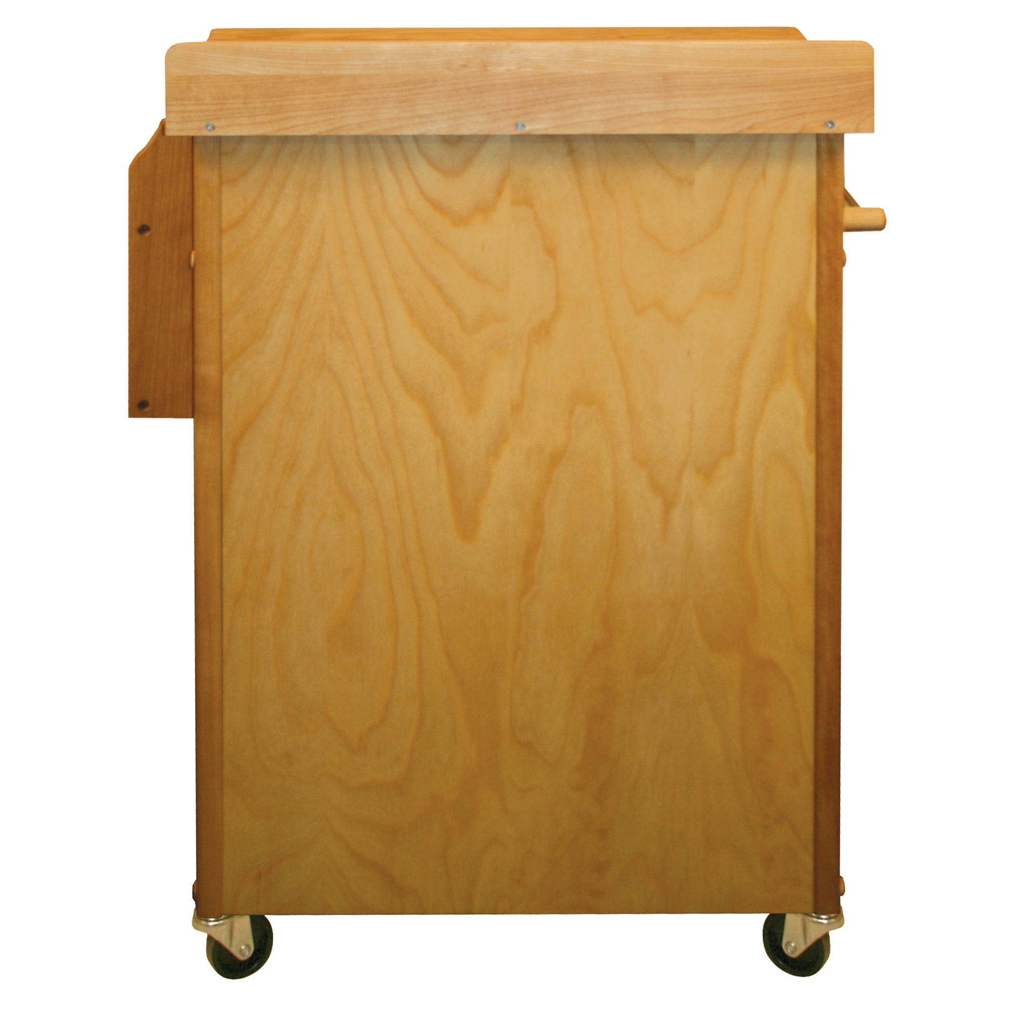 rear view of catskill butcher block cart with back splash