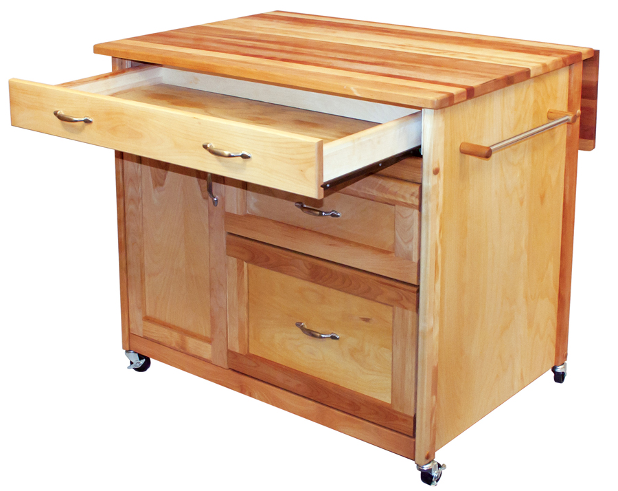 deep drawer kitchen island with drop leaf by Catskill Craftsmen