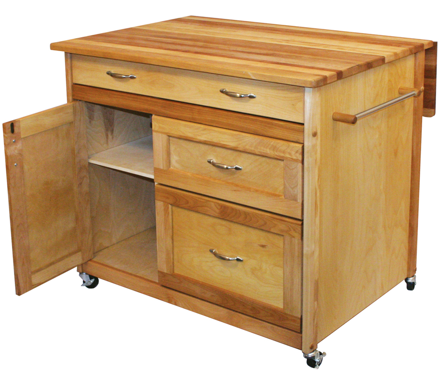 drop leaf deep drawer kitchen island by Catskill Craftsmen