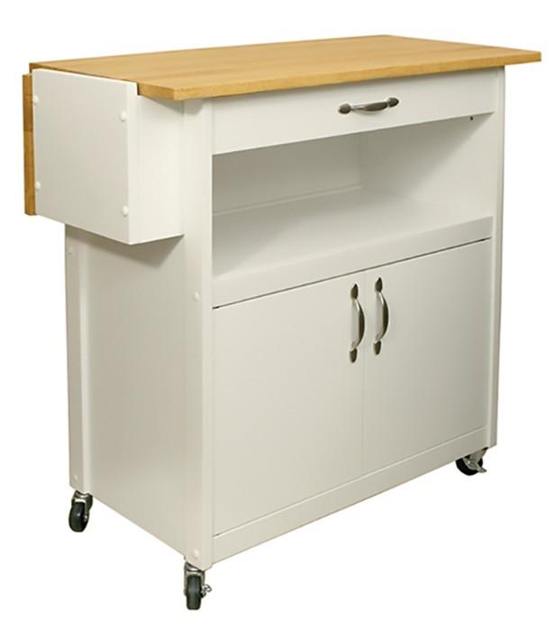 Catskill Drop-Leaf Utility Cart - White Base, Side Knife Rack, 34