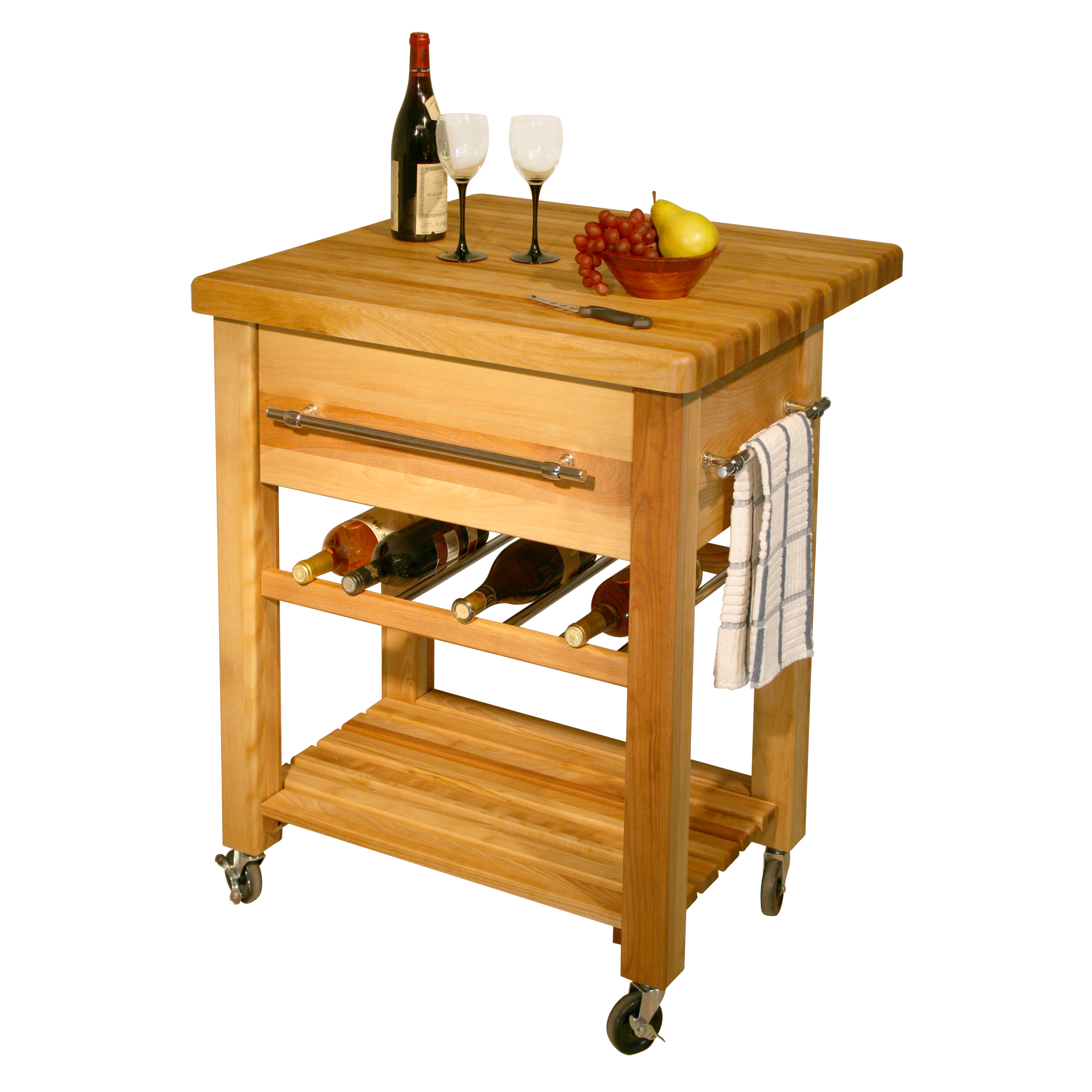 Catskill Grand Island Wine Cart 29 X29 X1 75 Drop Leaf Butcher Block Top