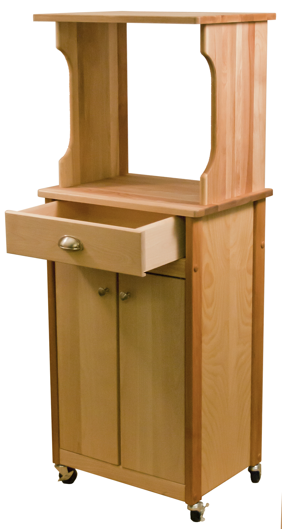 catskill butcher block microwave cart with hutch