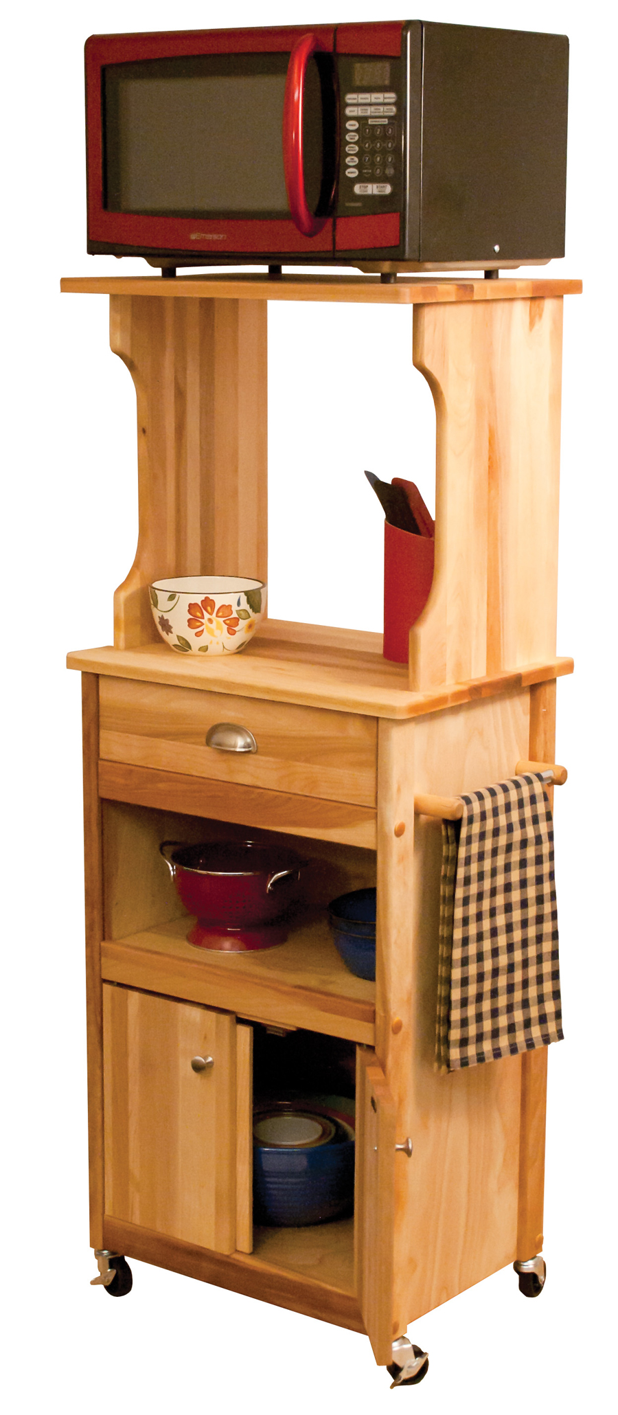 catskill cart for microwave oven, with hutch, butcher block, open shelf, drawer, cabinet storage