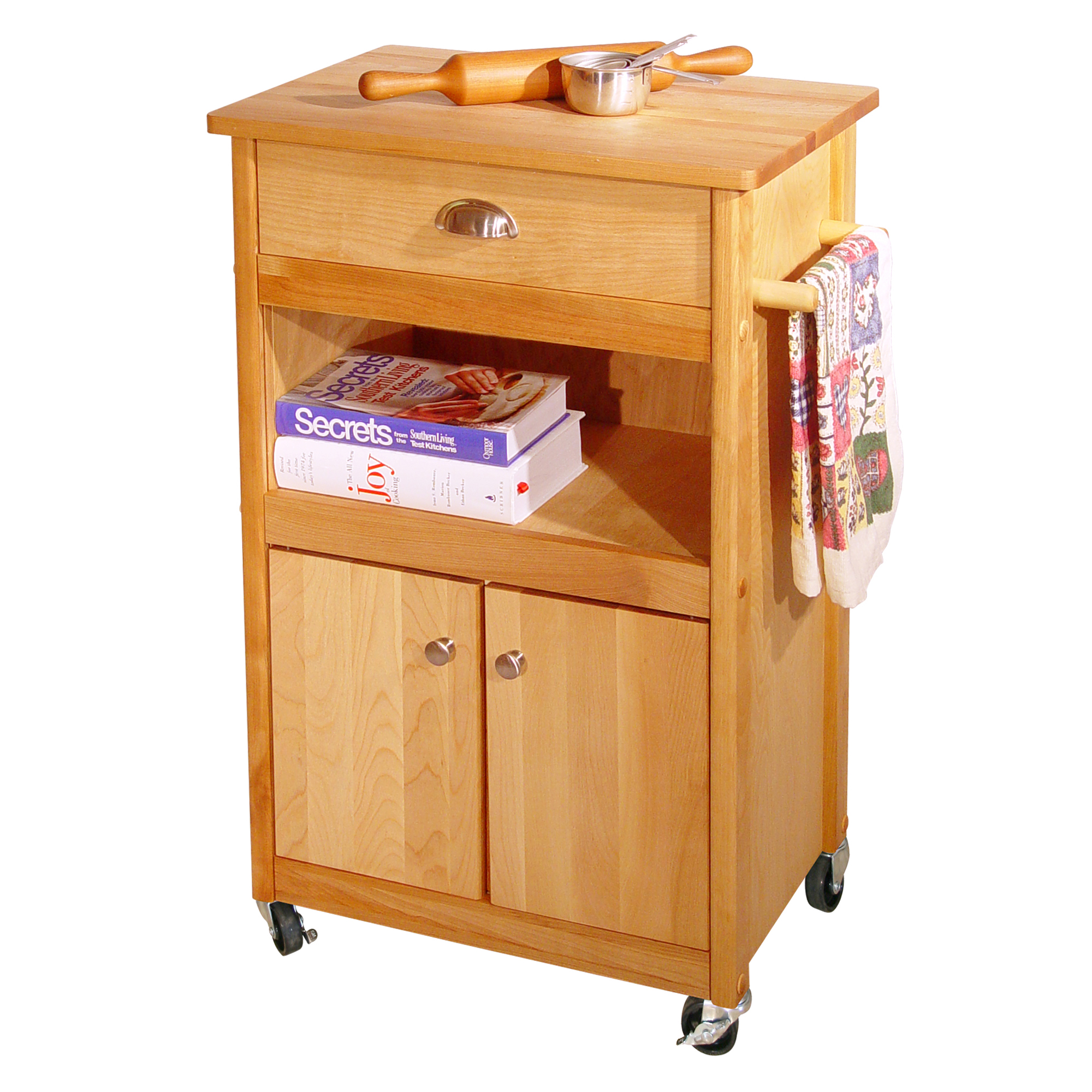 Catskill butcher block cart with open & enclosed storage