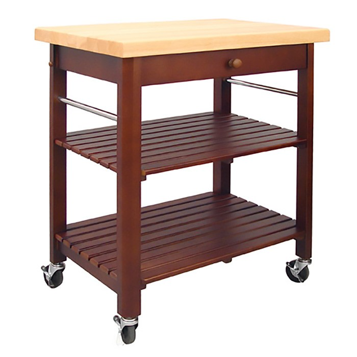 Catskill Roll-About Cart - Lacquered Top, Cherry-Stained Shelves, 29