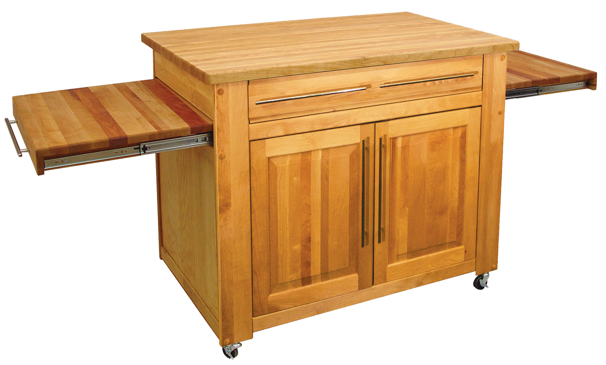 Catskill S Empire Work Center Butcher Block Island Pull Out Leaves
