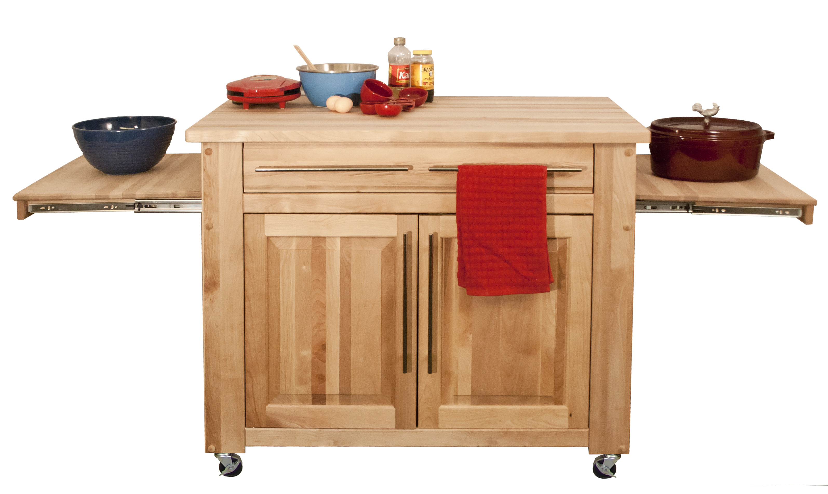 large kitchen work station with pull-out leaves