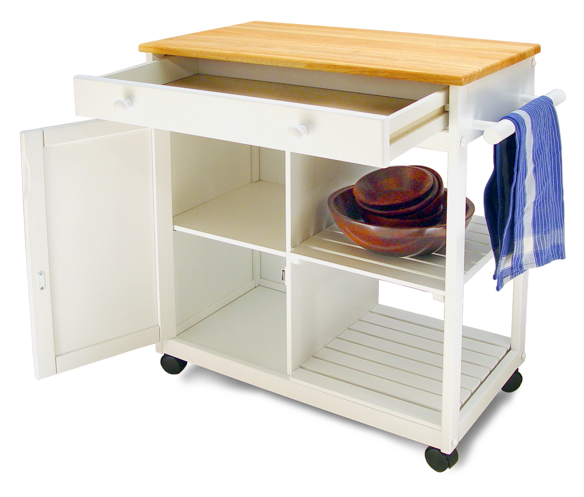 Catskill Preston Hollow White Kitchen Cart - Cabinet & Shelves, 32