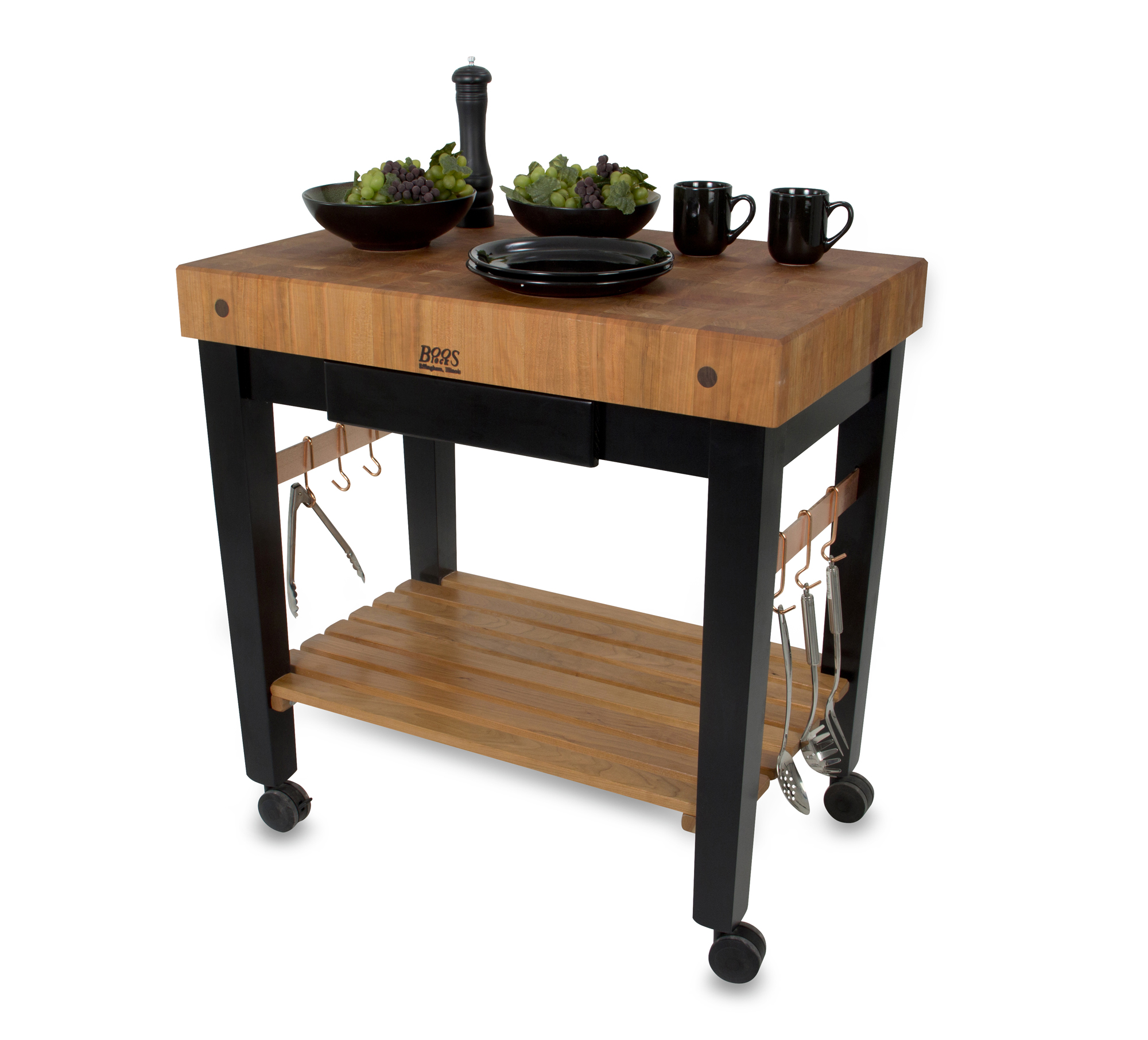 rolling cherry butcher block on black legs