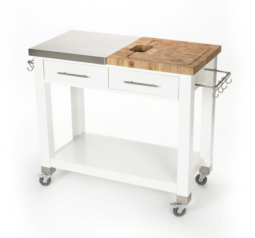Chris Stainless Steel Butcher Block White Work Station 20
