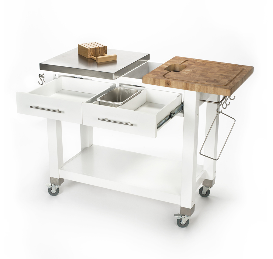 Chris and Chris steel and butcher block work station cart