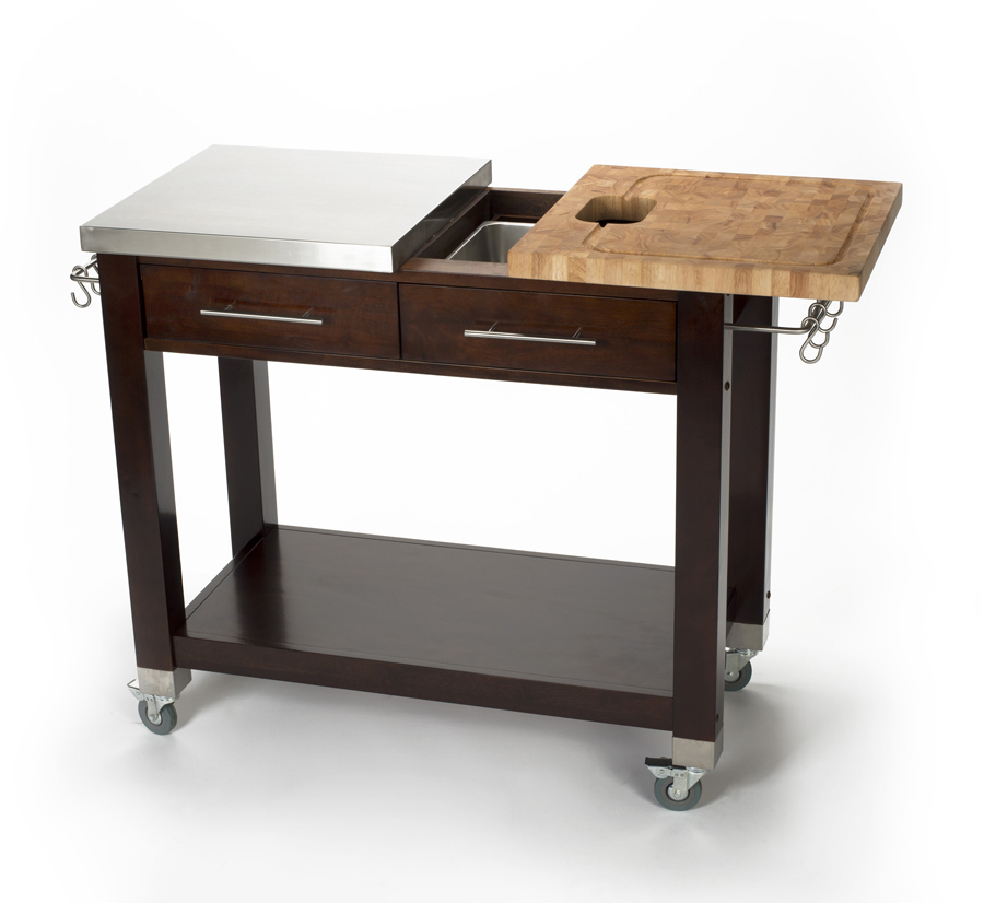Butcher Block & Stainless Steel Work Station - Espresso