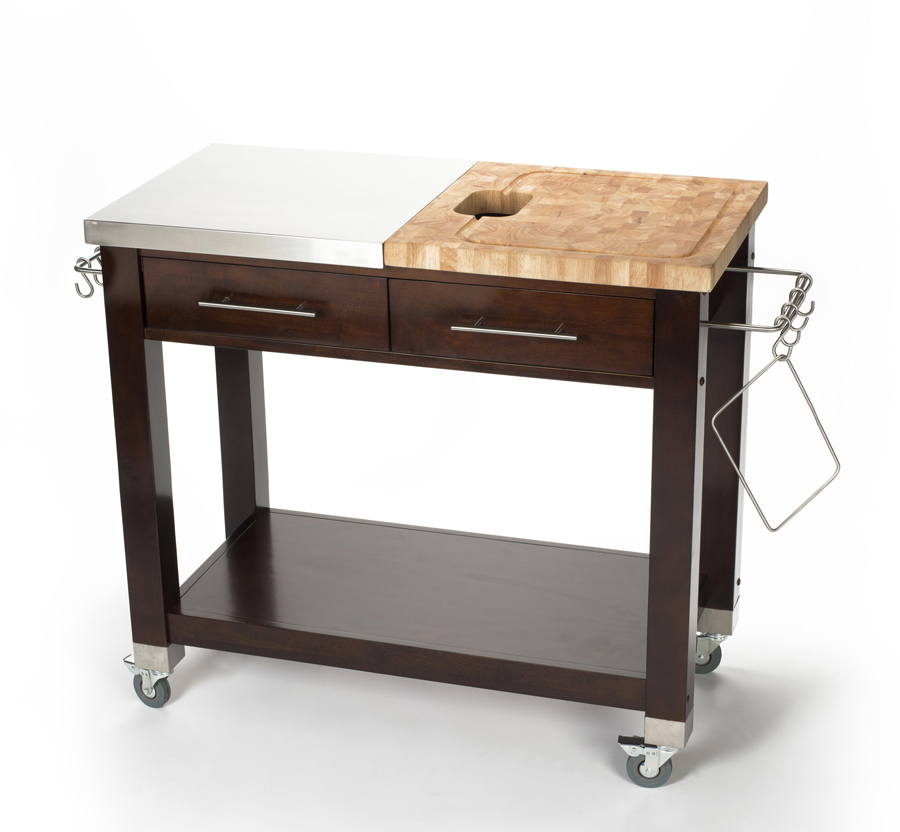 Chris & Chris 40x20 Dual-Top Espresso Work Station - S.S. & Rubberwood