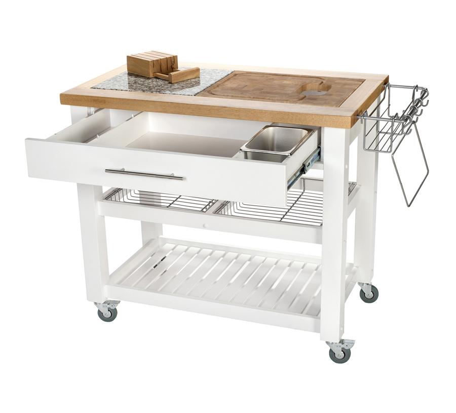 White Kitchen Work Station Granite Rubberwood