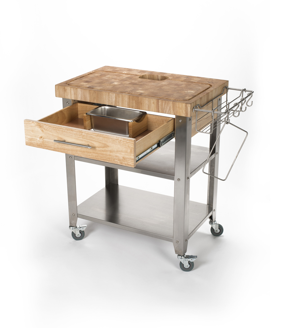 Rubber Wood Stainless Steel Kitchen Cart - 30