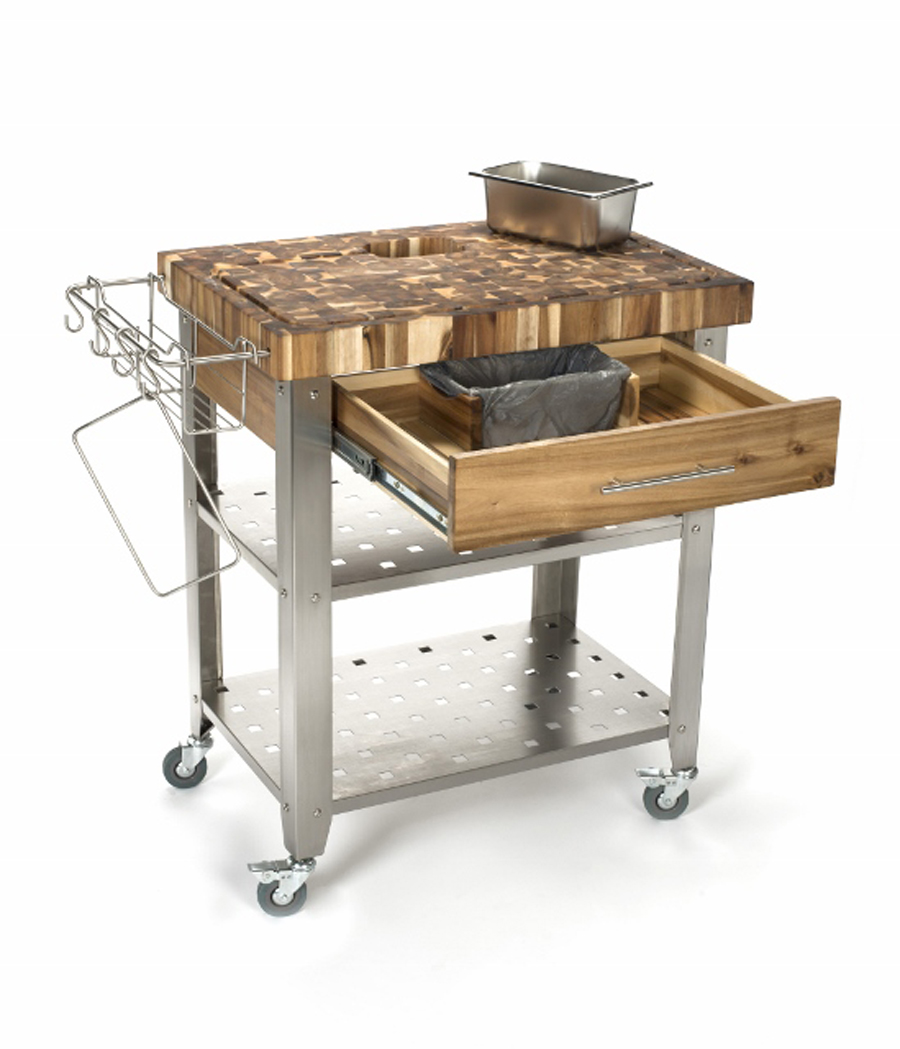 Chris & Chris Acacia-Wood Kitchen Cart - 30 x 20