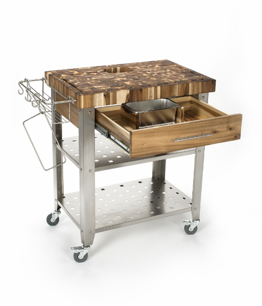 Chris & Chris Acacia-Wood Stainless Steel Kitchen Cart
