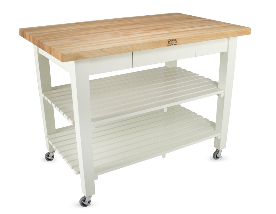 White Country Work Table on Caster Wheels