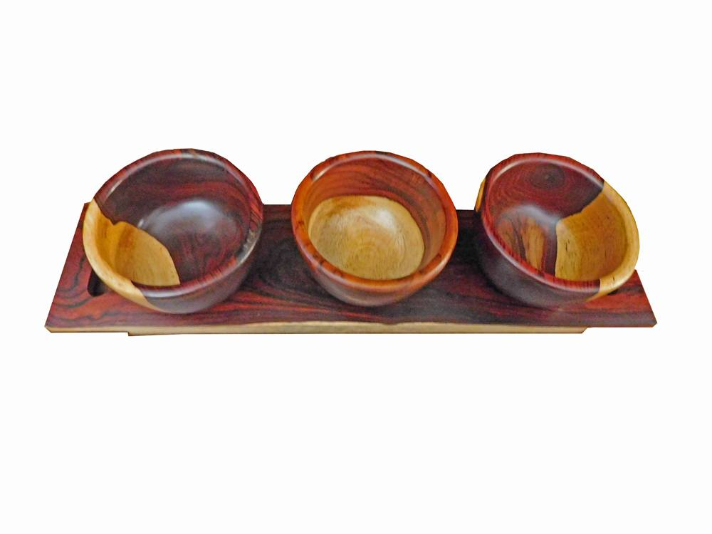 Set of 3 Wooden Cups & Spoons Plus a Serving Tray - Cocobolo Wood