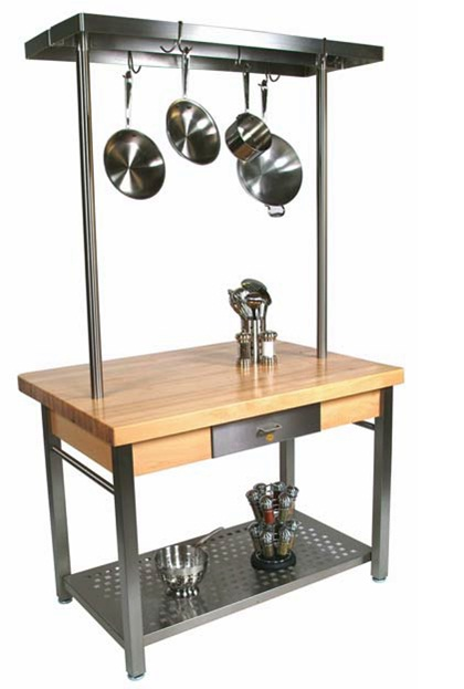 Boos Maple Cucina Grande Work Station with Optional Pot Rack & Leaf