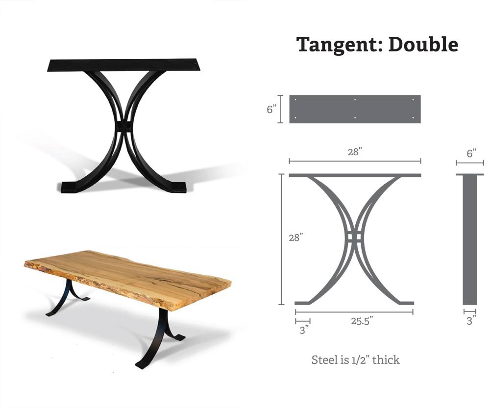 Double Tangent Metal Table Bases (Pair) for Wood Slab, Butcher Block, Plank Tops