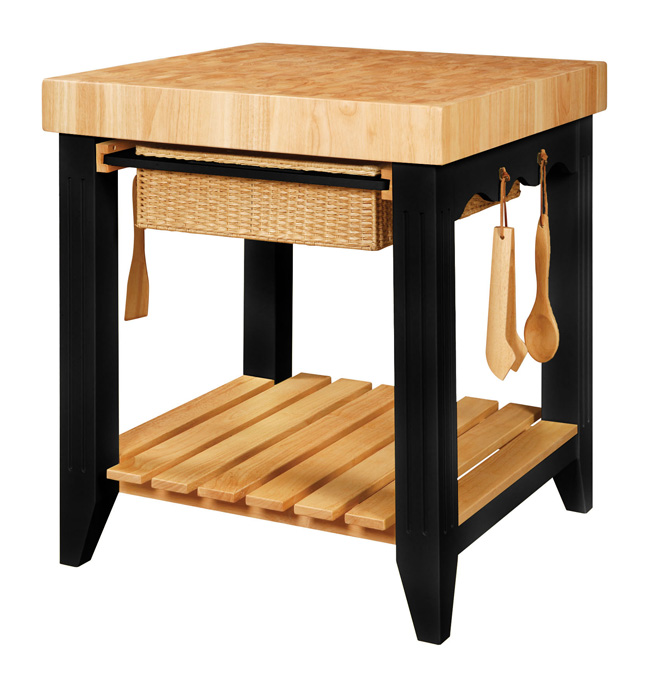 Small Square Butcher Block Island With Black Base
