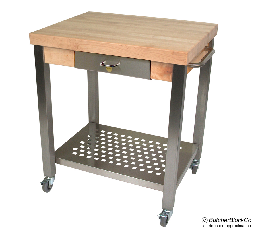 Edge-Grain Butcher Block Stainless Steel Cart