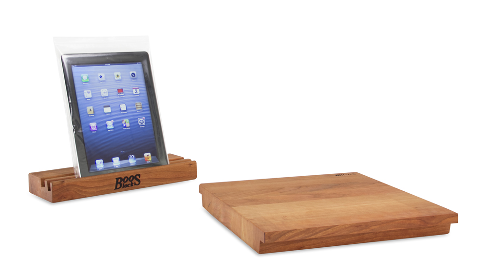 Boos Cherry iblock butcher block cutting board and tablet stand