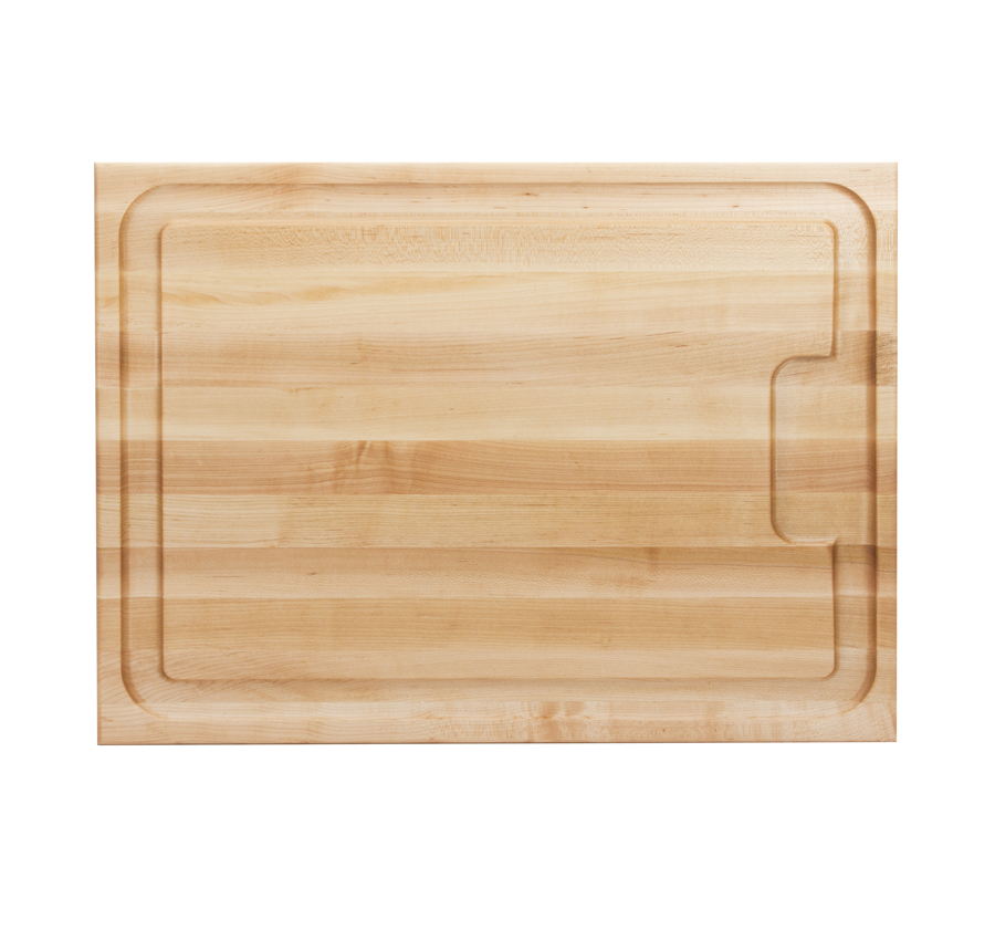 juice groove reservoir on maple cutting board
