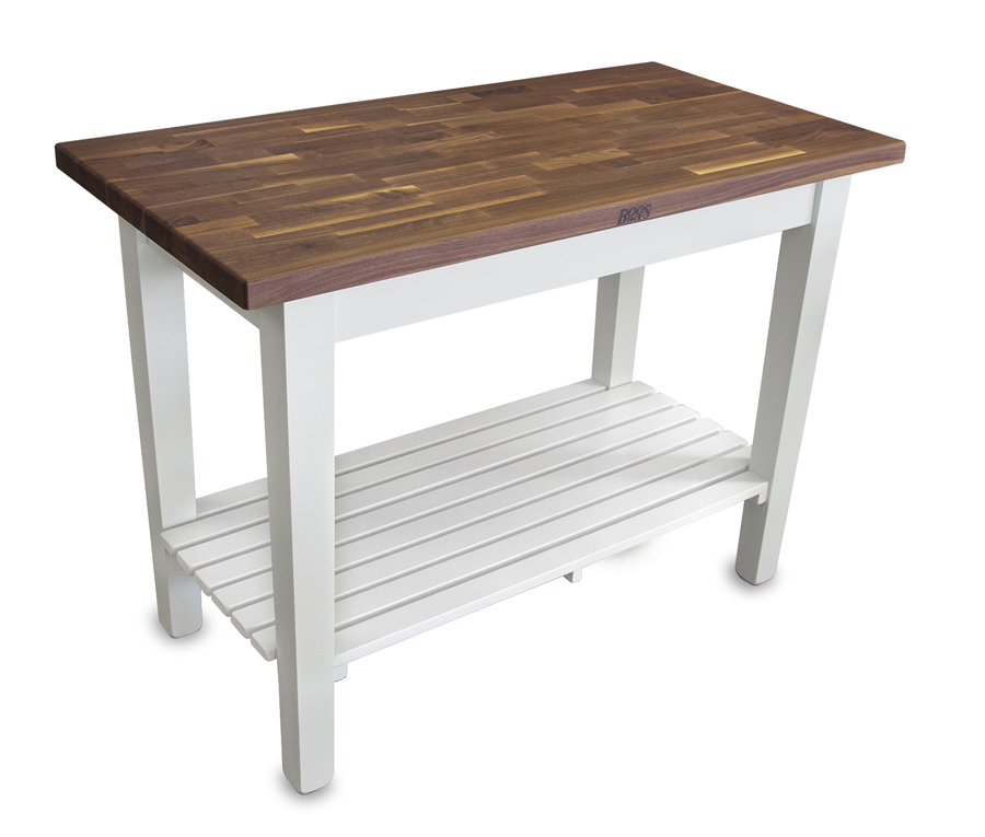 blended walnut country work table by Boos