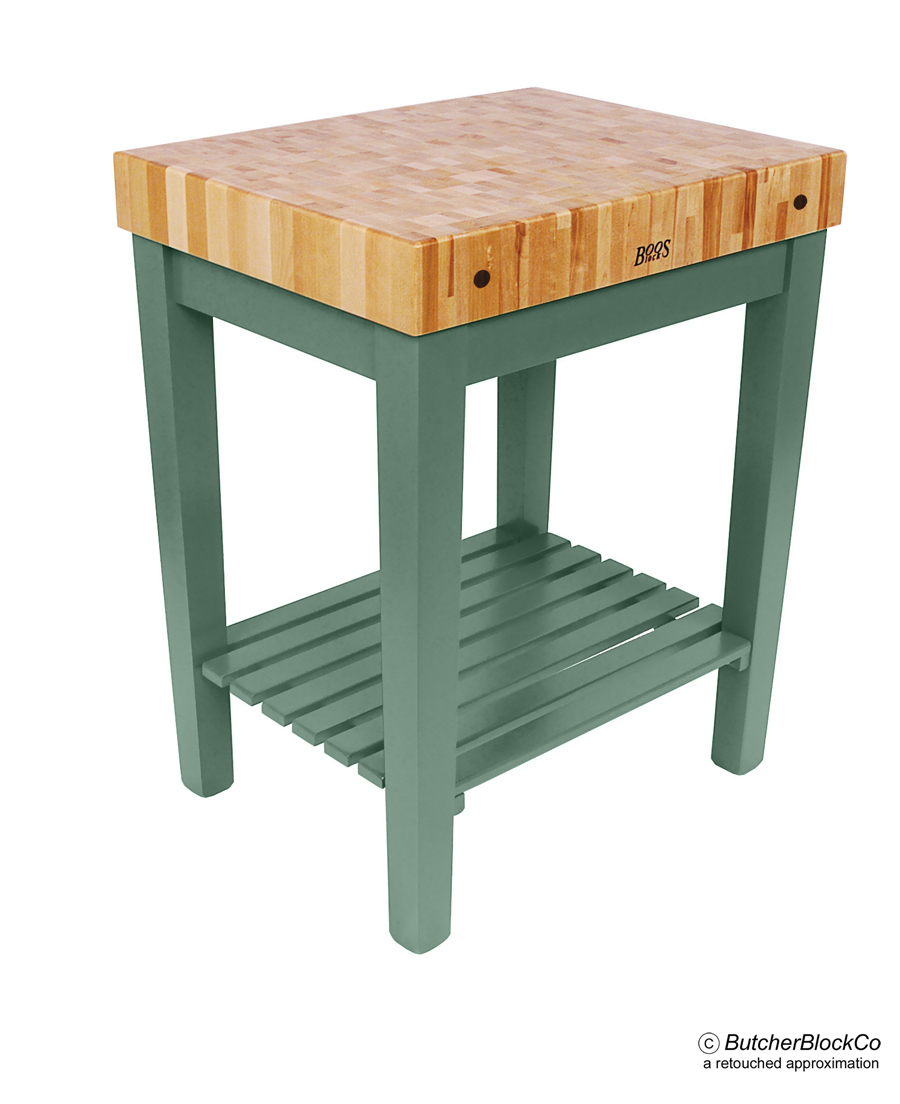 John Boos Chefs Block with Maple Butcher Block & Slatted Shelf Basil
