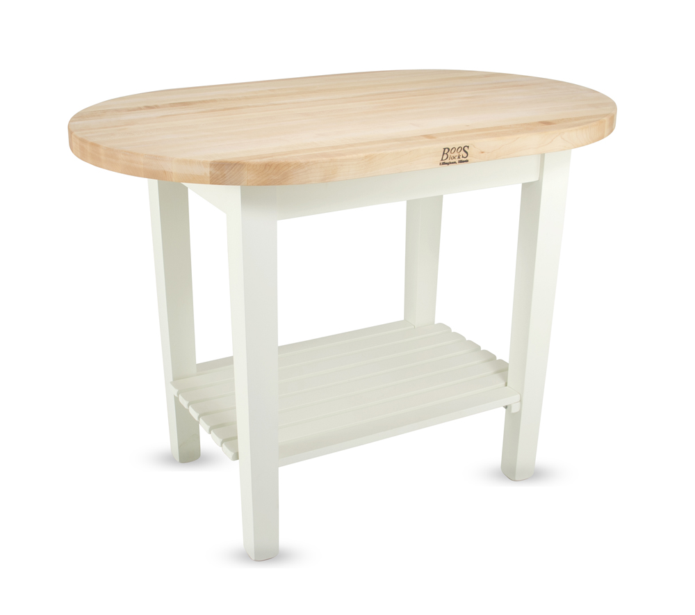 Maple Elliptical Butcher Block Table On White Base