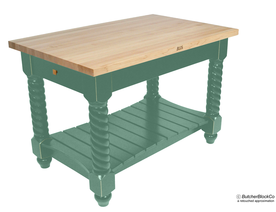 John Boos Edge-Grain Maple Tuscan Isle Kitchen Island - Basil Base
