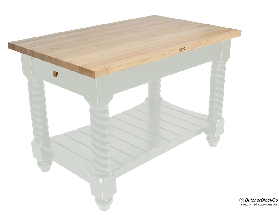John Boos Edge-Grain Maple Tuscan Isle Kitchen Island Alabaster Base