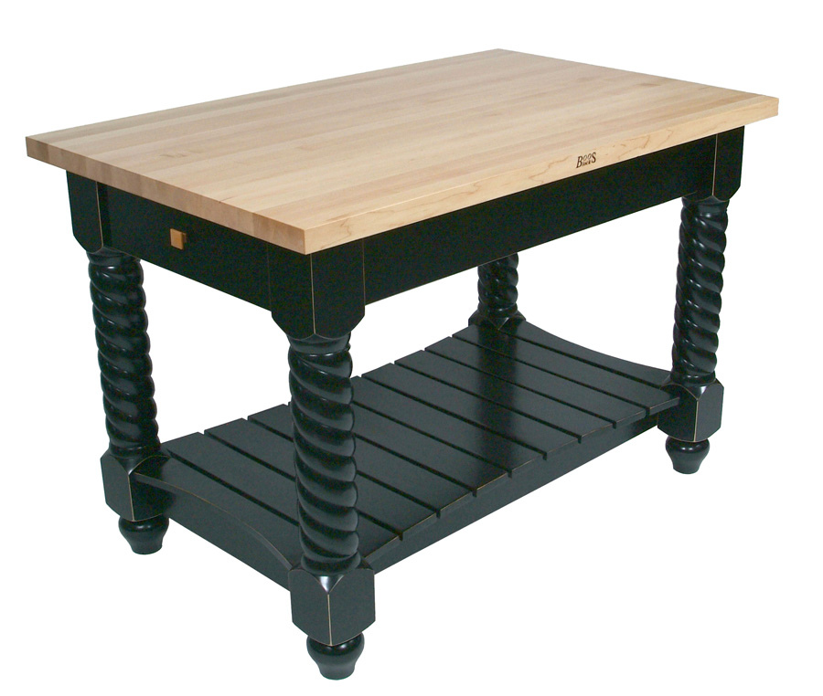Edge grain maple butcher block table on black base