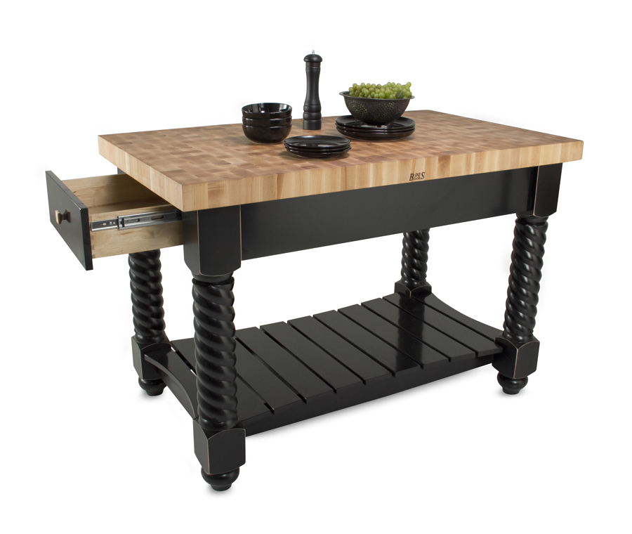 John Boos Tuscan Isle Kitchen Island - end-grain maple