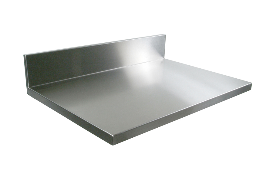 stainless steel countertop with boxed backsplash