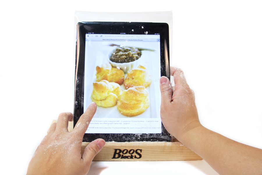 tablet-holding wood stand