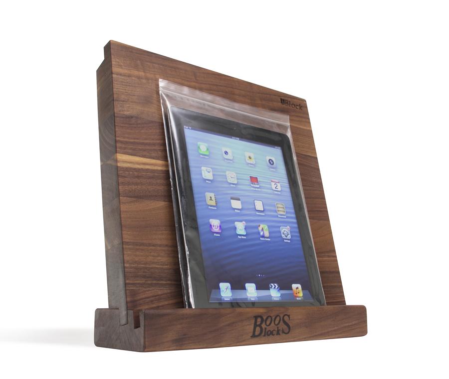 Boos walnut board holds tablet