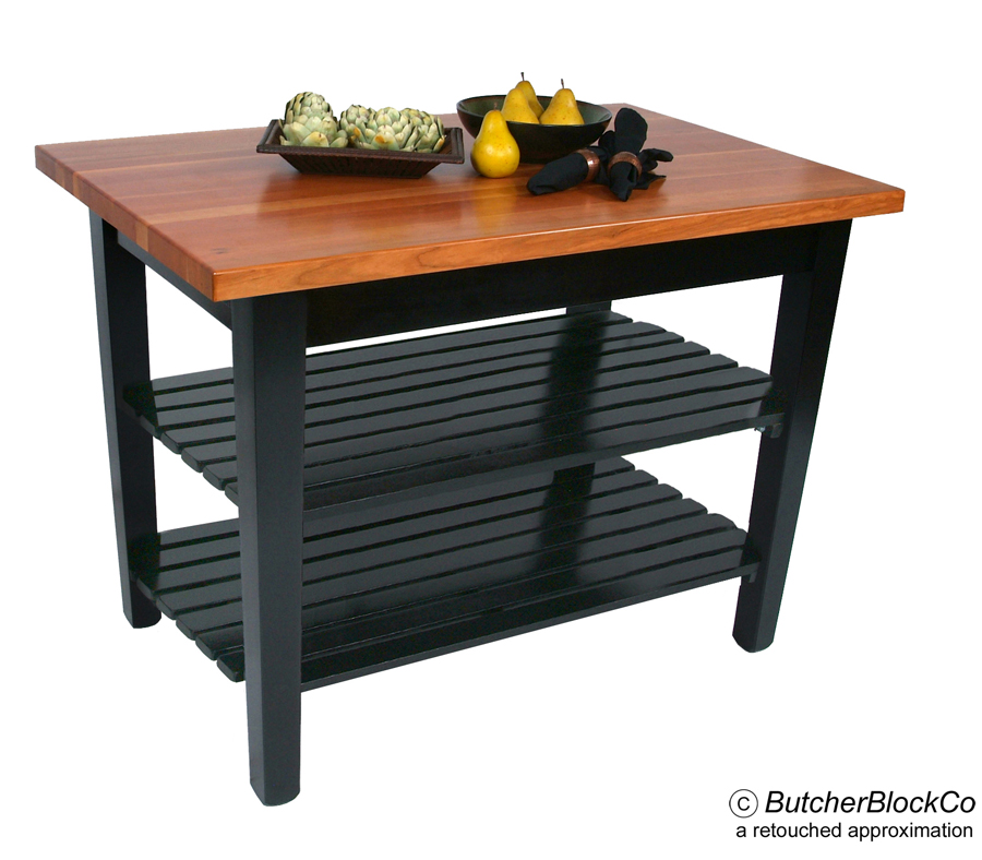 Boos Classique Cherry Butcher Block Table with 2 shelves