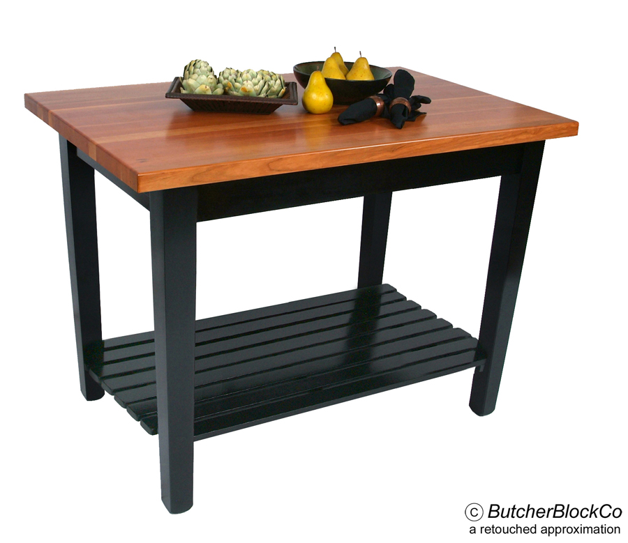 Boos Cherry Butcher Block Table with shelf